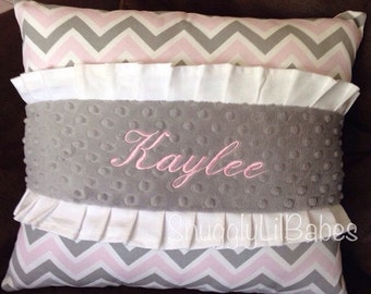 Grey, pink, ruffle pillow, white ruffles and grey minky dot personalized pillow cover