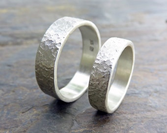 Stone Texture Wedding Ring Set - Two Hammer Distressed Silver Rings -  6mm, 4mm Flat Bands in Blackened, Antiqued, or Matte Sterling Silver