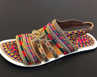 Slip on Rainbow Sandals with Stretchy Behind the Ankle Strap