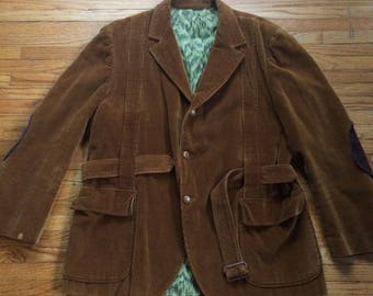 Vintage Brown Corduroy Button Up Long Sleeve Elbow Patches Winter Jacket with Belt Tie