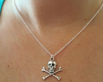 Skull Necklace - Silver Skull Necklace - Charm Necklace - Skull And Crossbones - Chain Necklace - Halloween Necklace - 2 Sizes Available