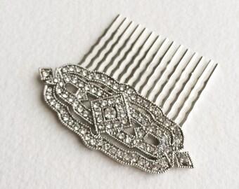Art Deco hair Comb, 1920s, Great Gatsby comb, silver hair comb, wedding bridal hair comb hair accessories Downton Abbey DECO DIAMOND SILVER