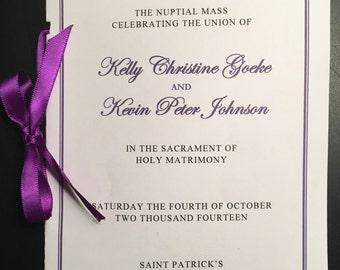 Catholic Wedding Ceremony Mass Printable DIY Program Template