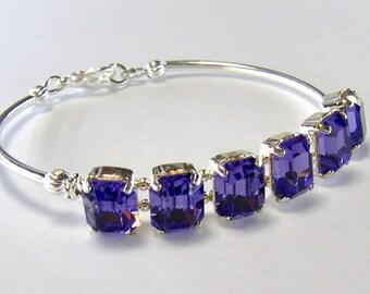 Tanzanite rhinestone bracelet / purple crystal bracelet / Swarovski crystal / bridesmaid / girlfriend gift / unique bracelet / gift for her