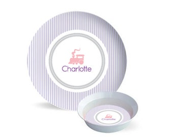 Personalized train plate, train bowl, train placemat, kids dinnerware, plate with name, childrens plate and bowl set for girl