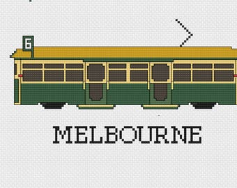 Melbourne Tram Cross Stitch Pattern