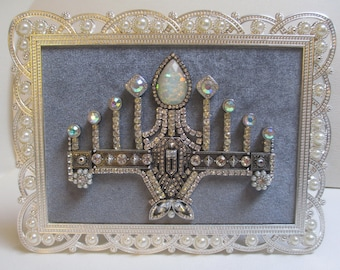 Jeweled Framed Jewelry Art Menorah Silver Gray Pearls Fabulous
