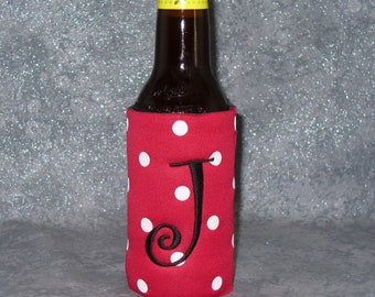 Monogram Beer Cozy, Skinny Can, Red Polka Dot, Beer Bottle Cozy