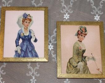 Gold Framed Victorian Era Southern Lady Pictures, Vintage Art