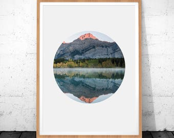 Mountain Print, Nature Print, Mountain Wall Art, Instant Download, Mountain Printable Art, Circle Prints, Landscape Wall Art, Mountain Art