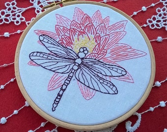 Embroidery KIT -  hand embroidery kit -  embroidery hoop art - dragonfly on lotus flower - modern embroidery - craft kit - DIY embroidery