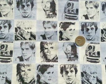 """Star Wars fabric Luke Leia Han Solo Chewbacca R2D2 C3PO cotton print quilt quilter sewing material to sew 33"""" remnant"""
