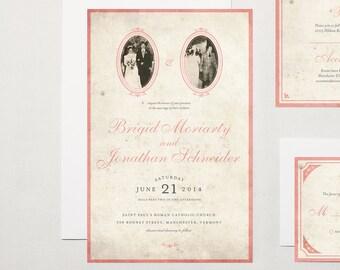 Vintage Wedding Photo Invitation Suite
