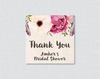 Boho Bridal Shower Favor Tags Printable - Bohemian Bridal Shower Favor Tags, Thank You Tags - Flowers and Feathers Wedding Shower Favor 0006
