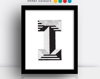 Letter I print - hand drawn typeface