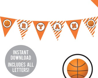 INSTANT DOWNLOAD Basketball Party - DIY printable pennant banner - Includes all letters, plus ages 1-18