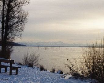 Winter Landscape, Lakeview, Photo, Bavaria, Germany, Download