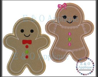 Gingerbread Embroidery Design - Gingerbread Boy & Girl Applique Set - Gingerbread Applique - Christmas Applique - Gingerbread Embroidery