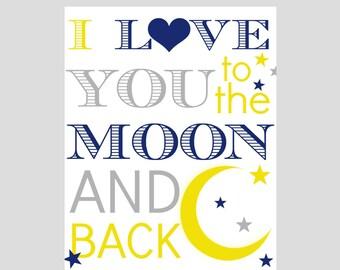 MOON STARS NURSERY art - playroom art, children wall decor, moon stars, love you to moon and back, 8x10, moon stars nursery