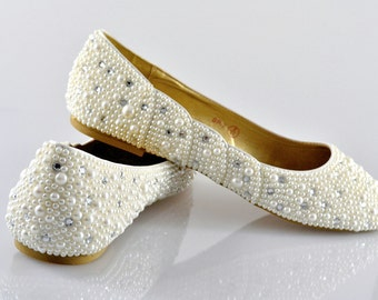 Custom Bespoke Swarovski pearl Ivory cream crystal encrusted embellished wedding Bridal Ballerina Flat shoes
