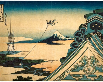 Asakusa temple in Edo Hokusai print from 36 views of Mt Fuji series reproduction print