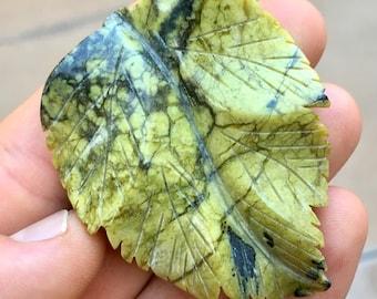 Top Quality 24g Hand Carved Serpentine Leaf Crystal Carving - Peru - Item:SPT17004