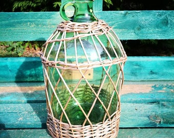 Old bottle with Wicker
