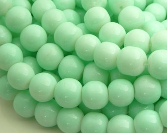 10mm Light Green Round Glass Beads - Smooth, Shiny Beads - 20pcs - BN30