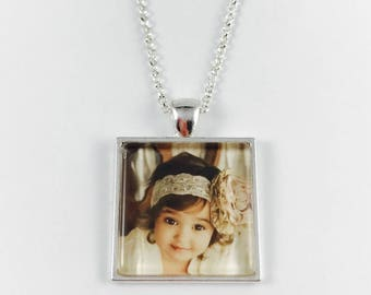 Custom Photo Necklace - Custom Photo Key Chain - Square Pendant - Your Personal Photo - Available in 4 Finishes