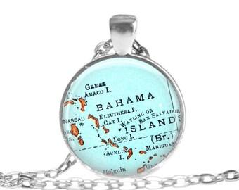 Bahamas Vintage Map pendant charm, Bahama Islands picture pendant, photo pendant, Bahamas map jewelry, Nassau travel for her, A107