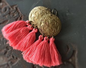 Shanghai Coral Red Tassel Earrings with Vintage Stamped Brass Disks - Warrior Princess