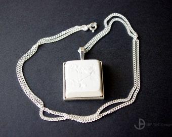 Necklace 3 Flowers, porcelain matt, 60 cm silver 925/version antique Silver