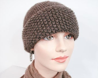 Warm Knit Hat - Seedy & Twisted Cap Design in Med. Brown Heather - Item 1054