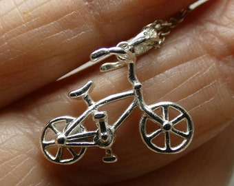 "Sterling Silver Bicycle necklace - 2.4 grms-chain is 18"" long- bicycle is 15X20mm 2257"