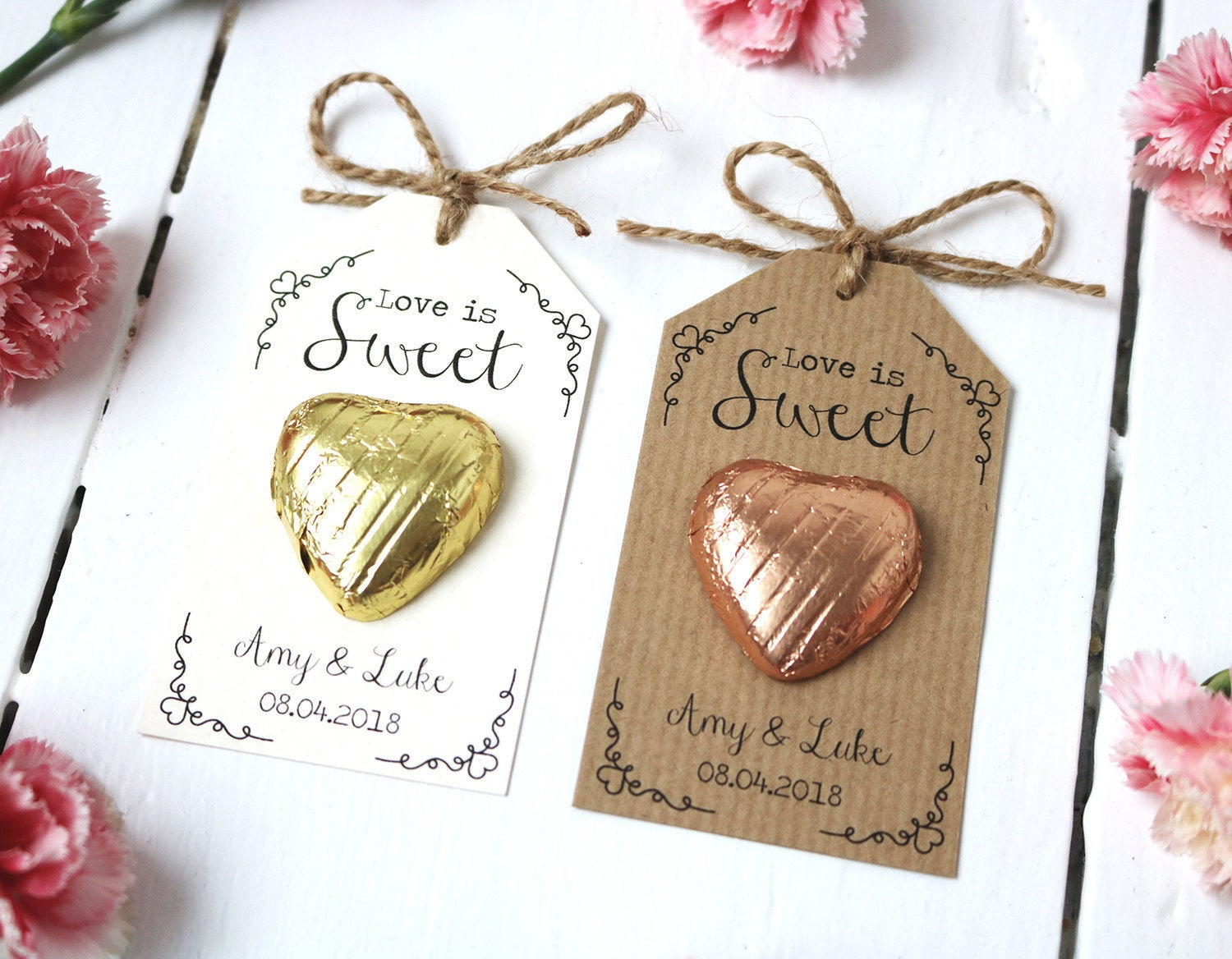 Love is Sweet Chocolate Heart Wedding Favour