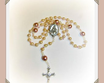 Ladies Rosary  five decade Rosary Necklace Fresh water pearl beads & swarovski pearl beads