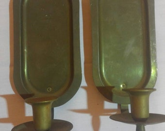 Brass Wall Candle Sconces, Brass Wall Candleholders (Priced as Pair as in for both).
