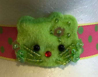 SALE festival plush lime green kawaii style kitty on pink with lime green polka dot ribbon choker