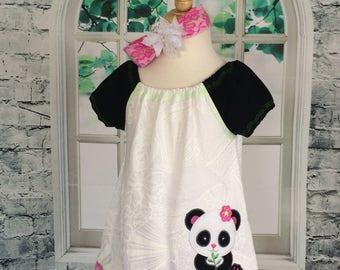 panda dress - infant panda dress -  embroidered panda dress - 12/18 month panda dress - ready to ship - nickisrainbow dress - panda - dress