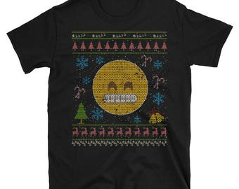 Grinning Emoticon Happy Emoticon Christmas Ugly Holiday Shirt Sweater Style Design