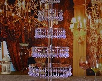Cupcake Stand/Chandelier/wedding centerpiece for table/wedding cake stand/acrylic cake stand with hanging crystals/baby shower cakestand