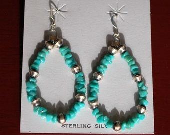 Native American Turquiose and Sterling Loop Earrings