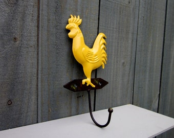 Yellow Rooster Hook, Kitchen Hook, Decorative Hook, Farmhouse Decor, Rooster Wall Hook,  Chicken, Hen, Rooster, Towel Hook, Key Hook
