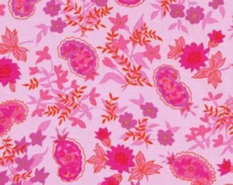 "LAMINATED Cotton  - Fuchsia Paisley, 56"" Wide, BPA & PVC Free"