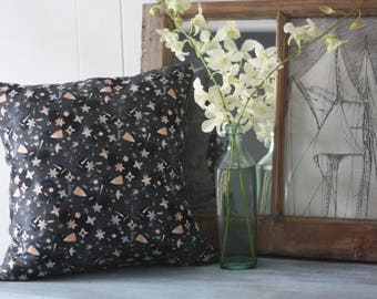 Lizzy House Victoria Canvas in Charcoal and Chambray pillow cover