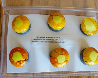 Six pack of strong refrigerator magnets of fused millefiori glass - orange and yellow
