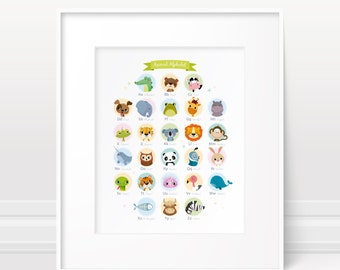 Alphabet print - Animal nursery art, animal alphabet