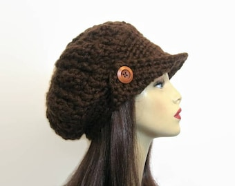 Brown Slouch Newsboy Hat Crochet Slouchy Newsboy  Chocolate Newsboy Adult Dark Brown knit Hat with Visor and Button Beret  Cap brown newsboy