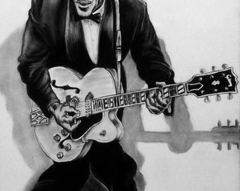Chuck Berry - 18X24 - Original Charcoal Art by Joseph Olsson