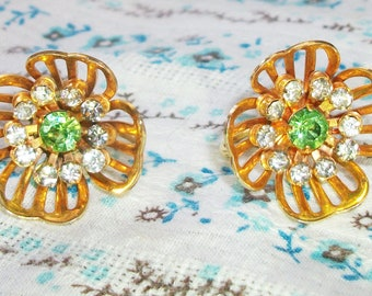 Vintage Gold Tone Green and Clear Rhinestone Bugbee and Niles Screw Back Earrings